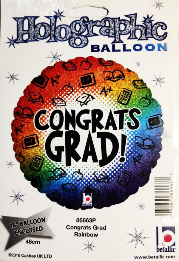 Congrats GRAD 18inch Foil Balloon Multi Coloured 86663P