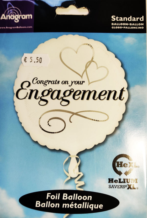 Congrats on your Engagement  17inch Foil Balloon Black & White 24548