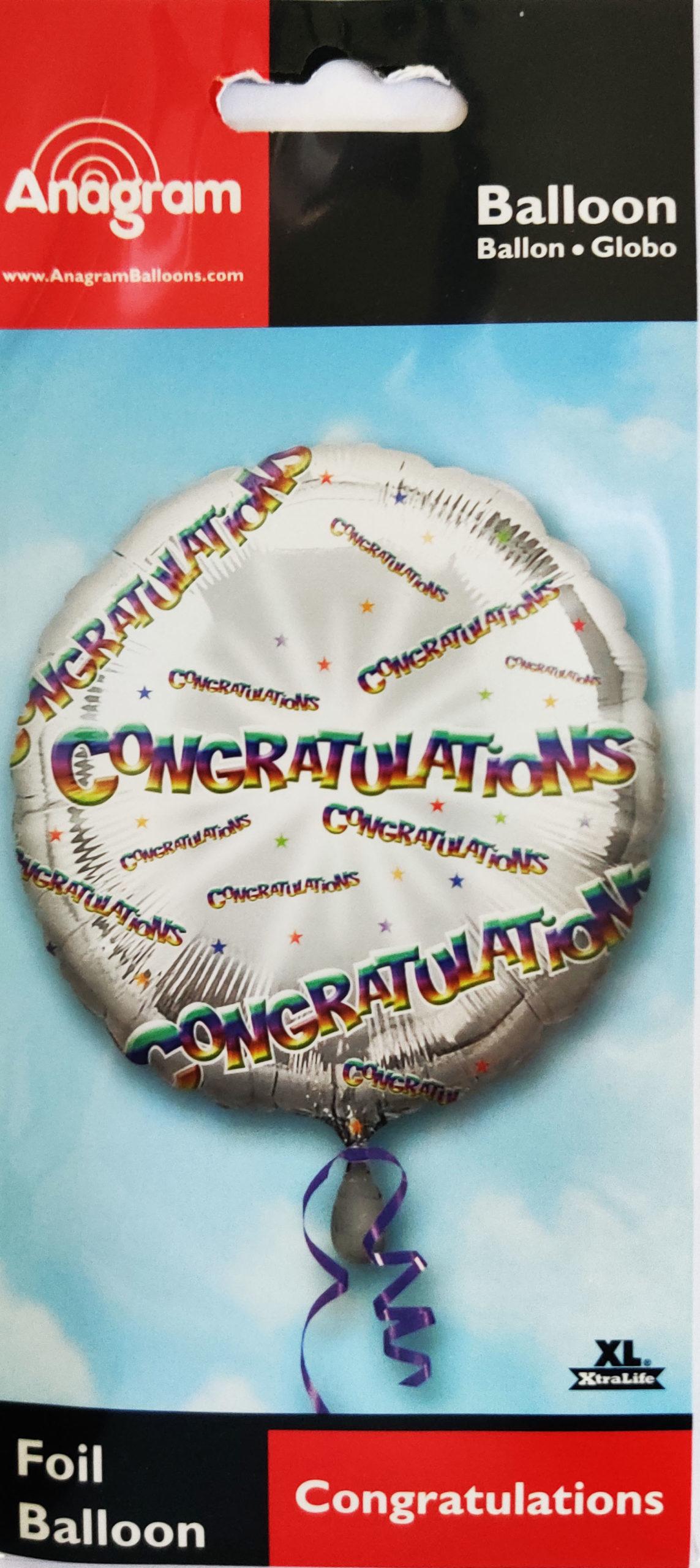Congratulations 17inch Foil Balloon Multi coloured 25914