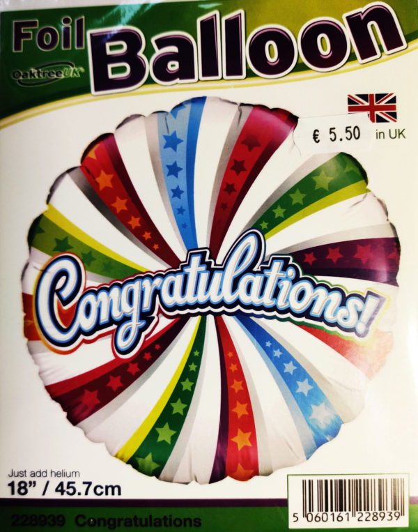 Congratulations 18inch Foil Balloon Multi Coloured 228939