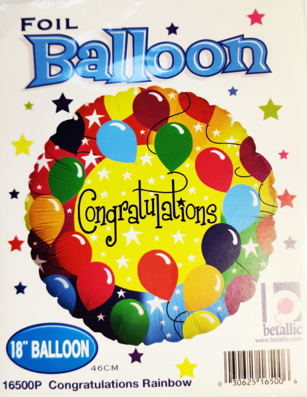 Congratulations 18inch Foil Balloon Multi Coloured with Balloons 16500P