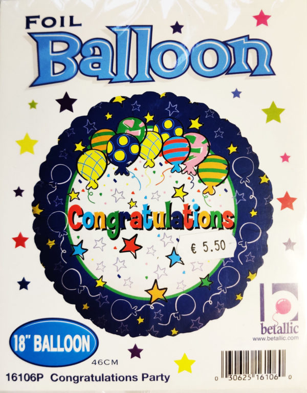 Congratulations 18inch Foil Balloon Multi Coloured with Balloons & Streamers 16106P