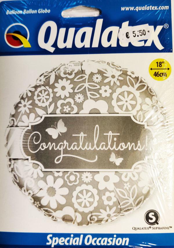 Congratulations 18inch Foil Balloon Silver 17074