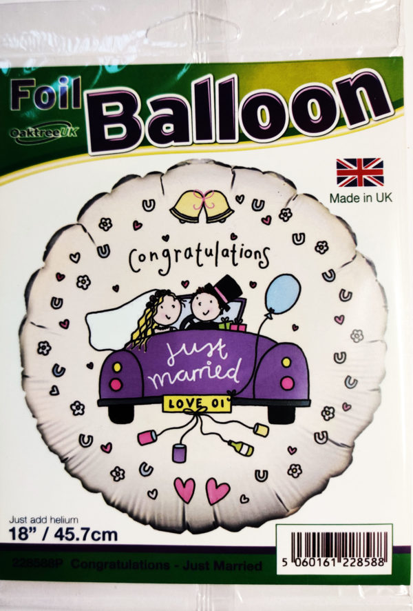 Congratulations Just Married 18inch Foil Balloon Multi Coloured 228588P
