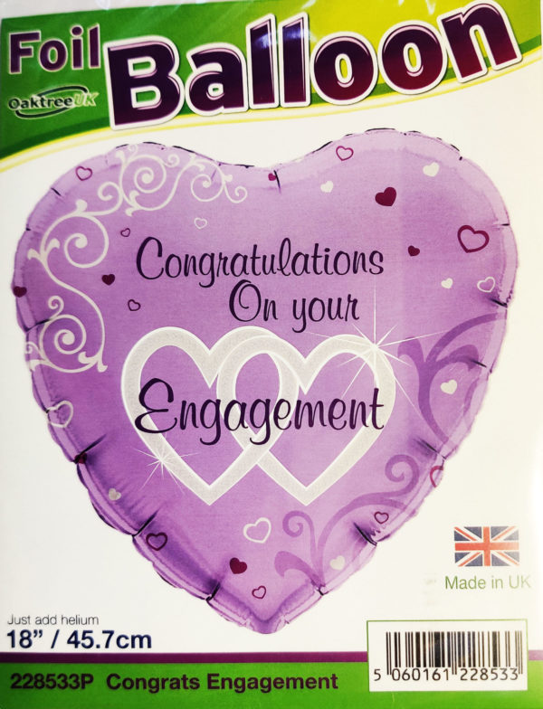 Congratulations On Your Engagement  18inch Foil Balloon Heart Shaped 228533P