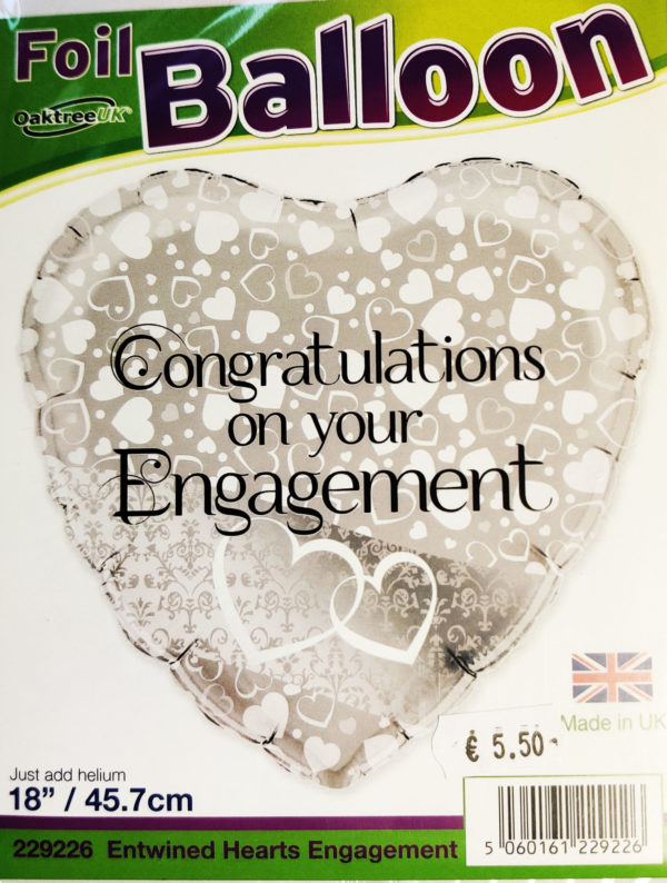 Congratulations On Your Engagement  18inch Foil Balloon Heart Shaped 229226