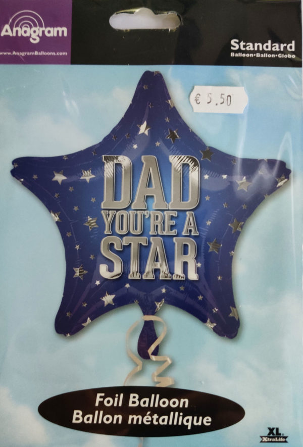 DAD You're a STAR 19inch Foil Balloon Star Shaped Blue 26314