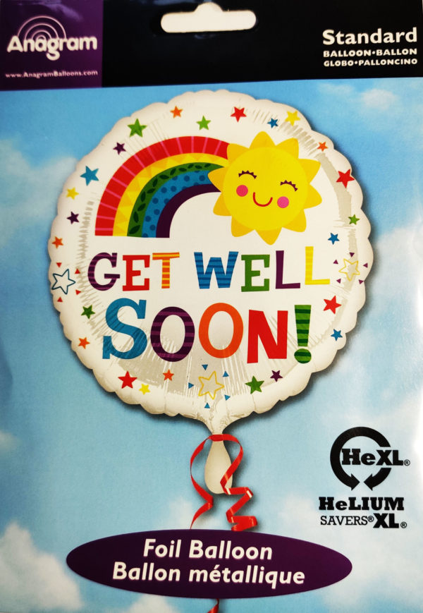 Get Well Soon 17inch Foil Balloon Multi Coloured Rainbow Design 35505
