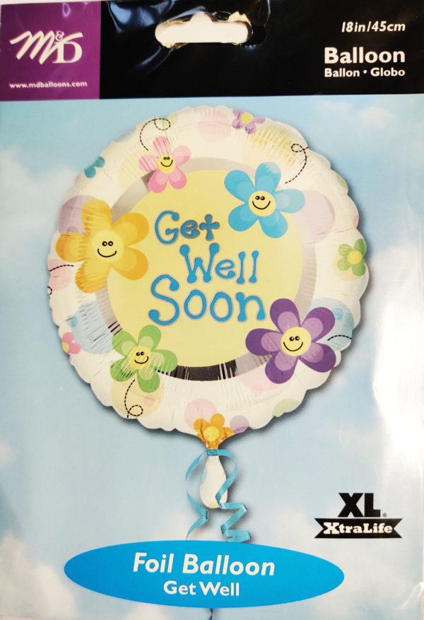 Get Well Soon 18inch Foil Balloon Multi Coloured 09881