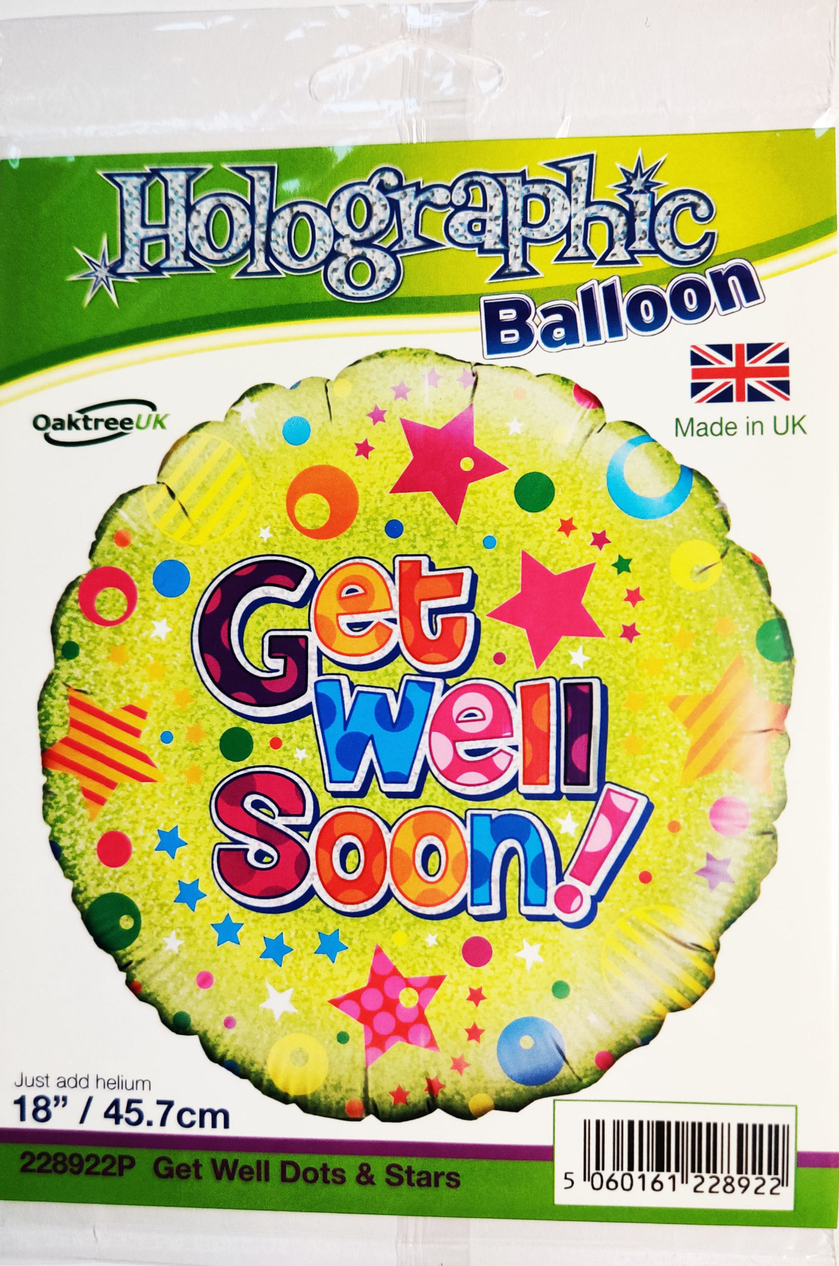 Get Well Soon 18inch Foil Balloon Multi Coloured 228922P