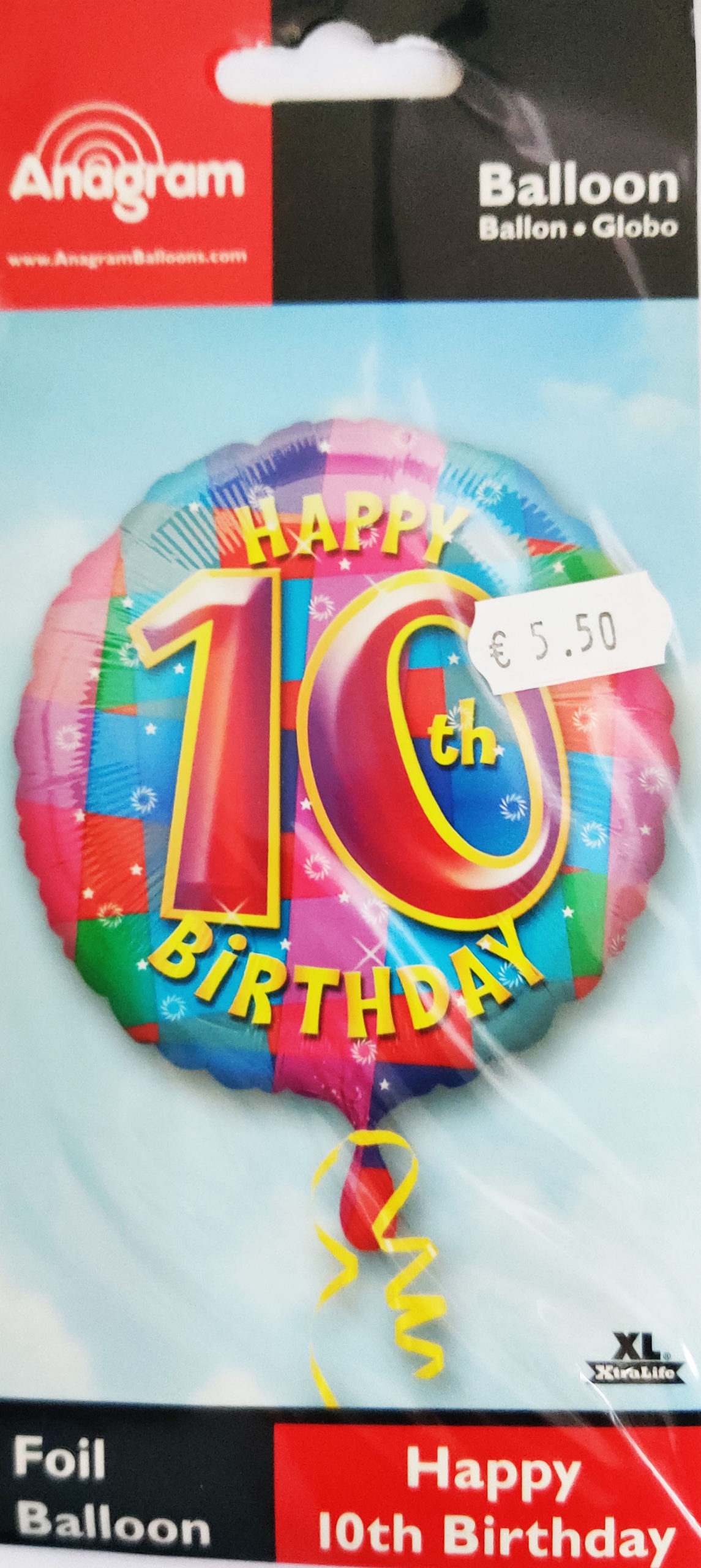 Happy 10th Birthday 17inch Foil Balloon Multi coloured 25906