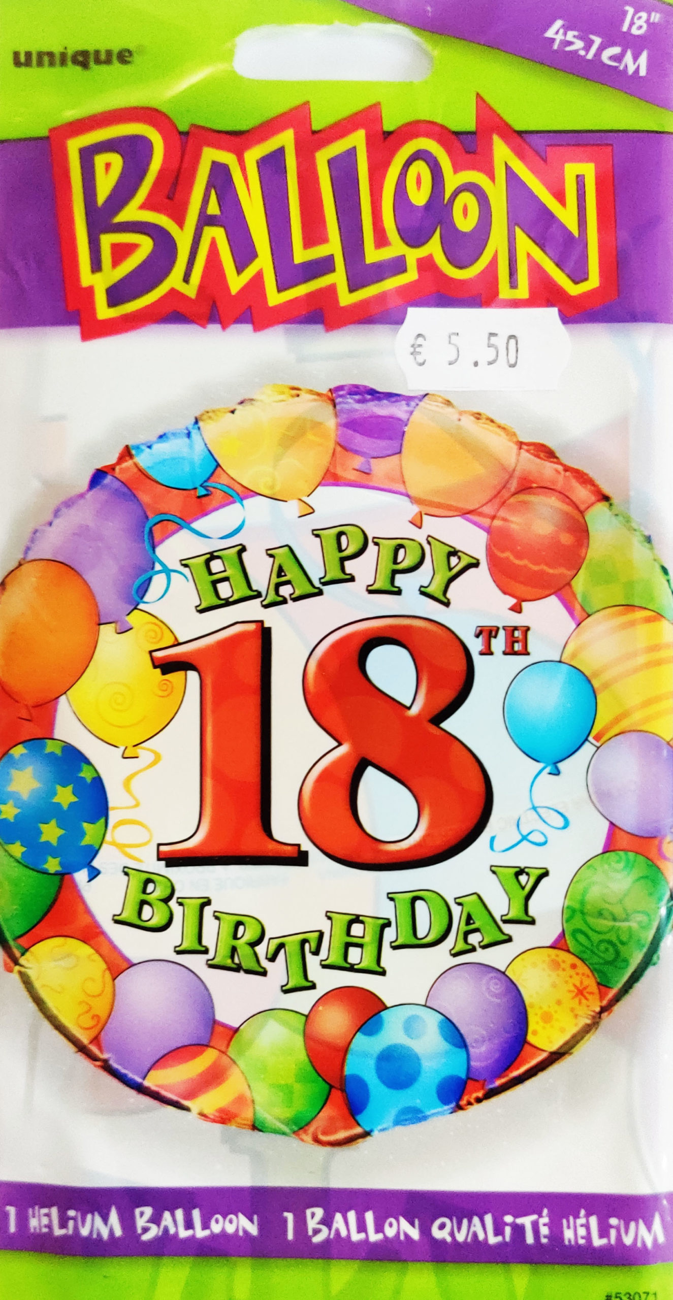 Happy 10th Birthday 18inch Foil Balloon Multi coloured 53071
