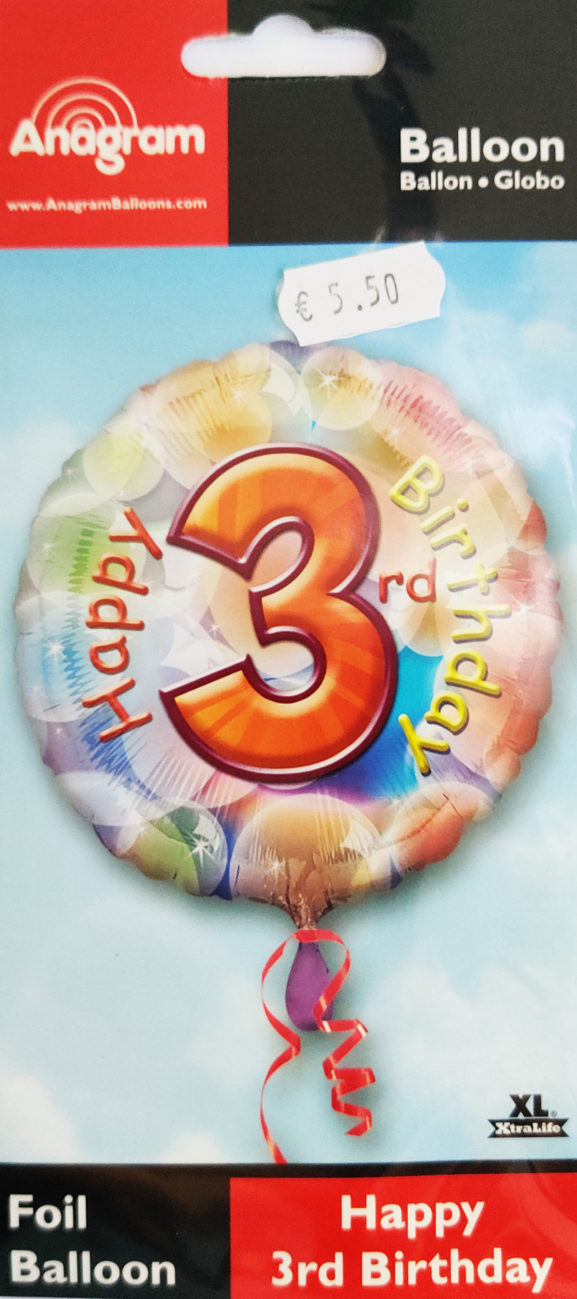 Happy 3rd Birthday 17inch Foil Balloon Multi coloured 25898