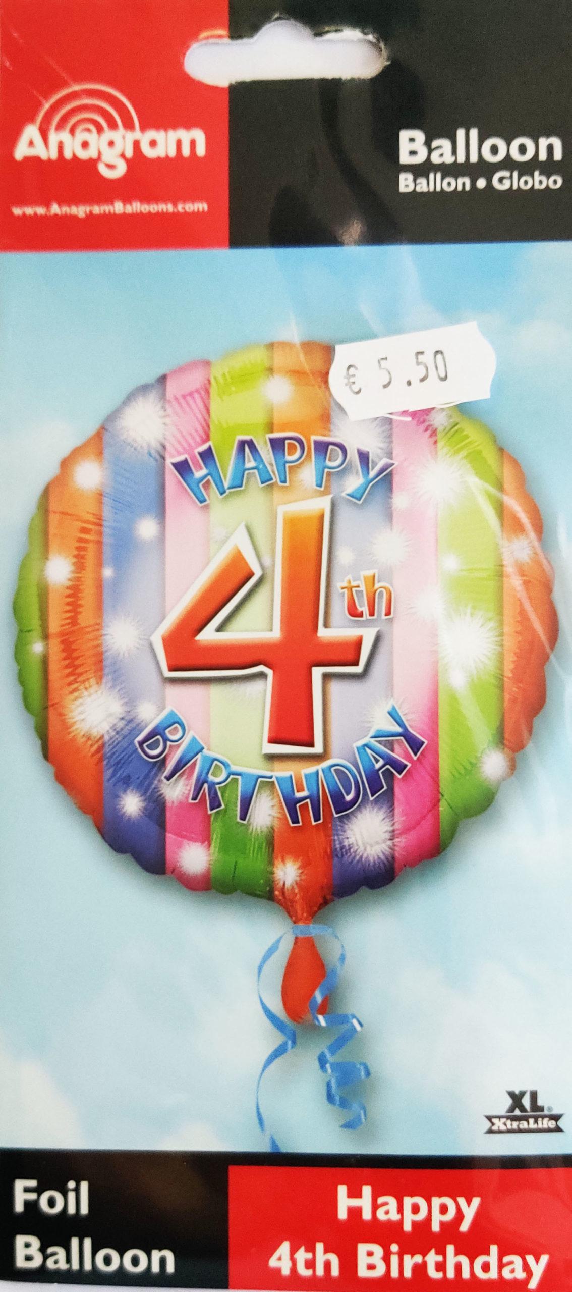 Happy 4th Birthday 17inch Foil Balloon Multi coloured 25899