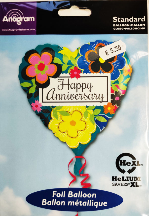 Happy Anniversary 17inch Foil Balloon Multi Coloured Floral Heart Shaped 30707