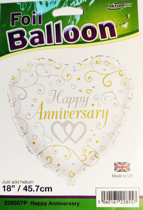 Happy Anniversary 18inch Foil Balloon Heart Shaped 228557P