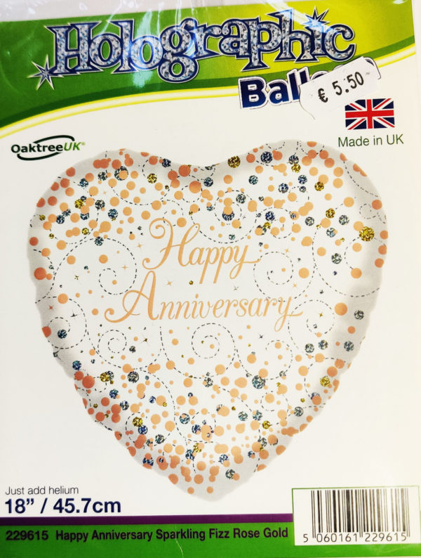 Happy Anniversary 18inch Foil Balloon Heart Shaped 229615