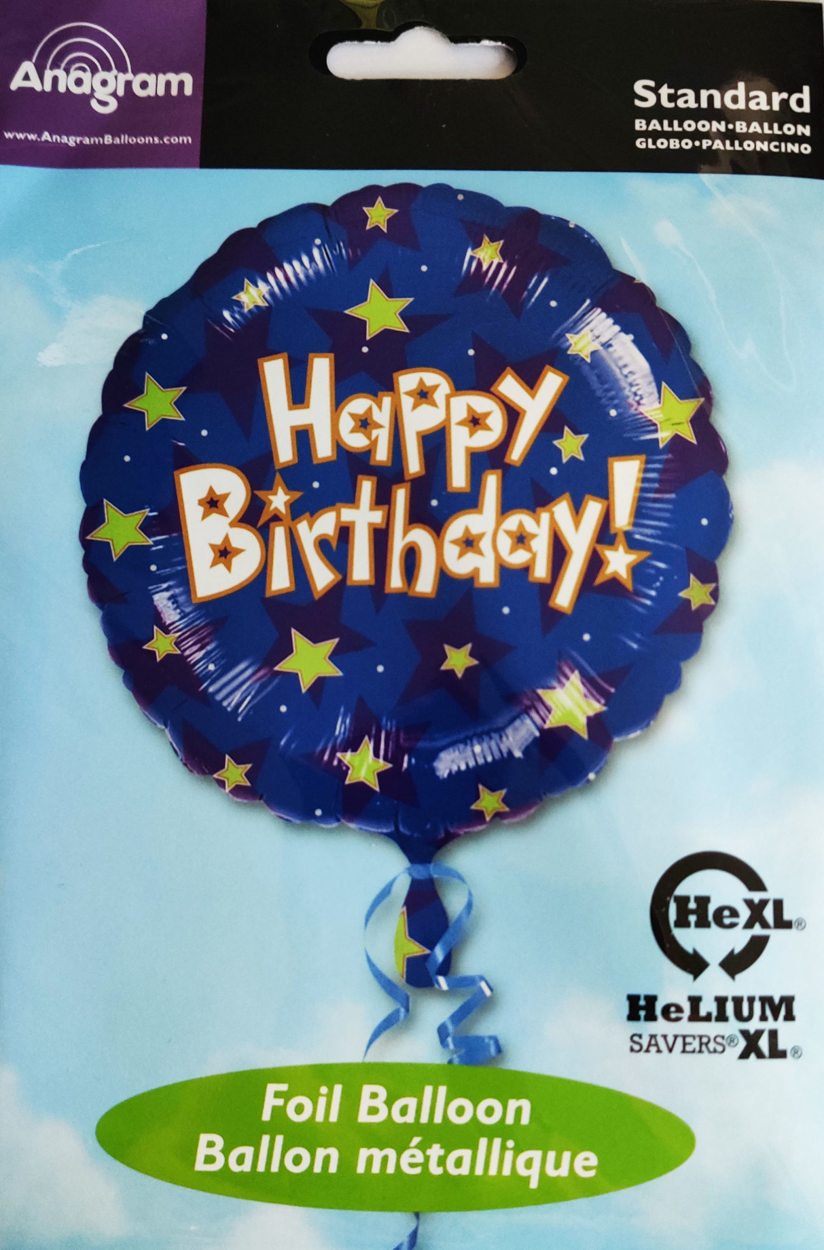 Happy Birthday 17inch Foil Balloon Blue with Stars 11366