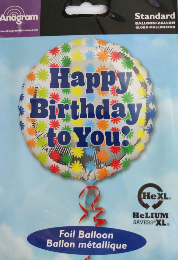 Happy Birthday 17inch Foil Balloon Multi Coloured Daisy Themed 26727
