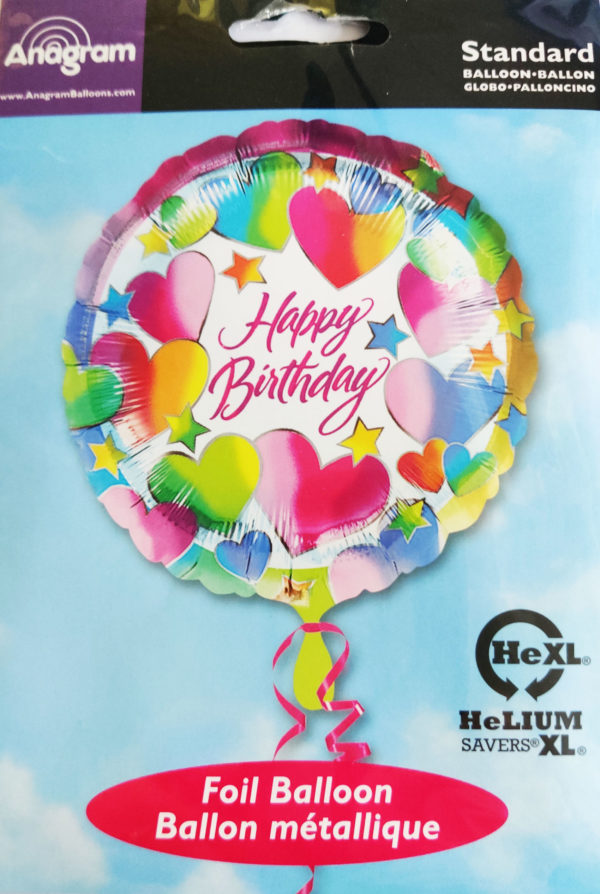 Happy Birthday 17inch Foil Balloon Multi Coloured Heart Themed 20053