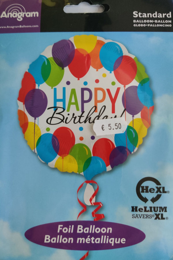 Happy Birthday 17inch Foil Balloon Multi Coloured with Balloons 32112