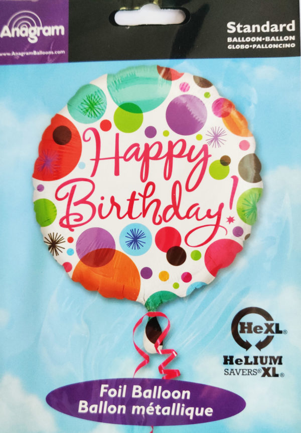 Happy Birthday 17inch Foil Balloon Multi Coloured with Circles 18162