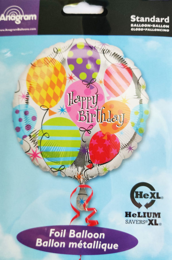 Happy Birthday 17inch Foil Balloon Multi Coloured with Designed Balloons 17947