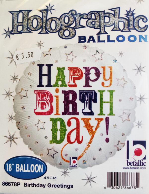 Happy Birthday 18inch Foil Balloon Multi Coloured 86678P