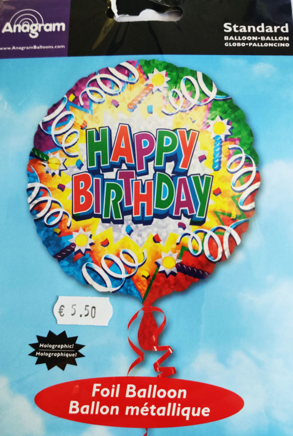Happy Birthday 18inch Foil Balloon Multi Coloured Party Themed 30090