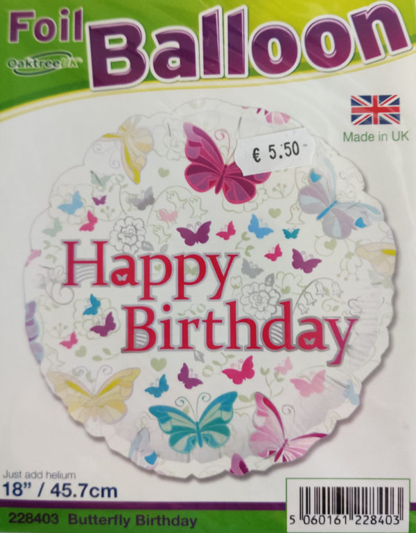 Happy Birthday 18inch Foil Balloon Multi Coloured with Butterflies 228403