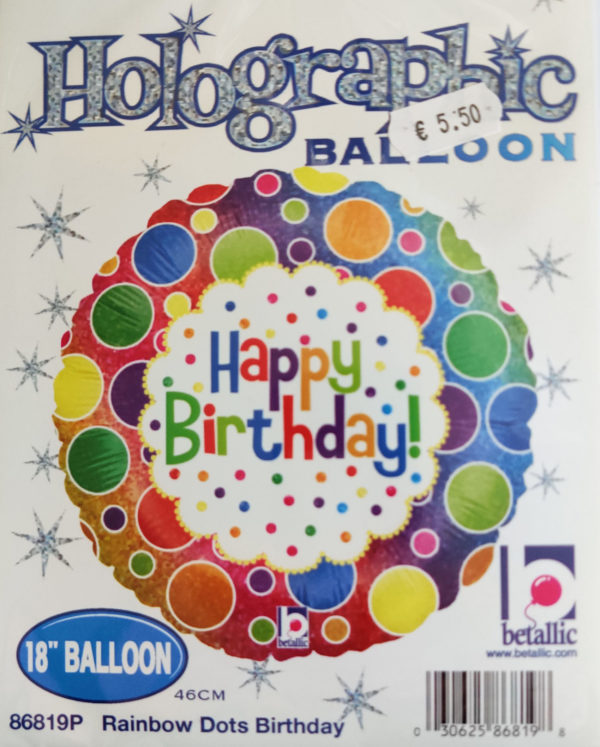 Happy Birthday 18inch Foil Balloon Multi Coloured with Circles 86819P