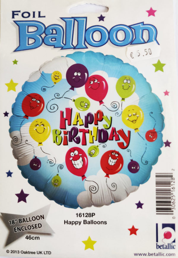Happy Birthday 18inch Foil Balloon Multi Coloured with Funny Faces Balloons 16128P