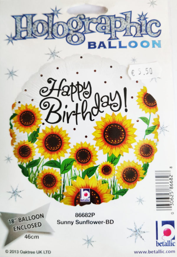 Happy Birthday 18inch Foil Balloon Multi Coloured with Sunny Sunflowers 86682P