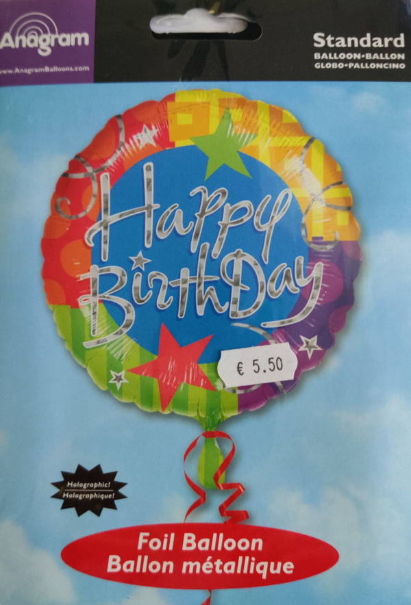 Happy Birthday 18inch Foil Balloon Multi Coloured with stars 116030 -
