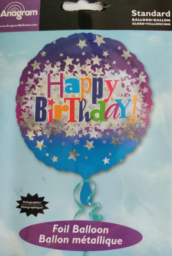 Happy Birthday 18inch Foil Balloon Sparkley Stars 24482