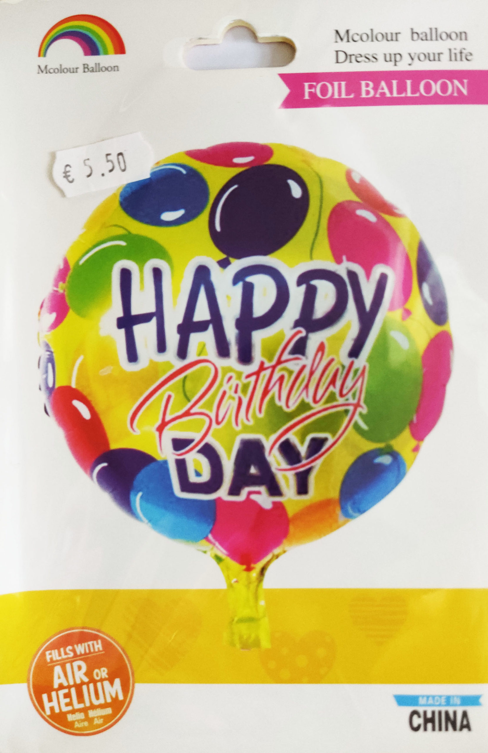 Happy Birthday 18inch Foil Balloon with colourful balloons