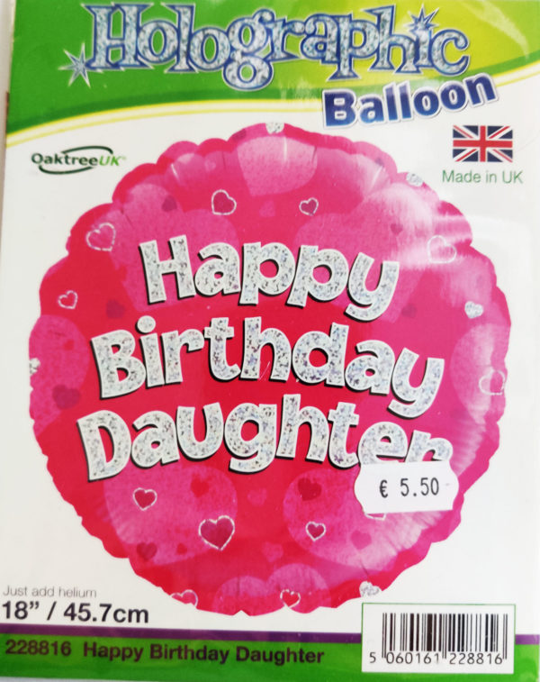 Happy Birthday Daughter 18inch Foil Balloon  Pink Holographic 228816