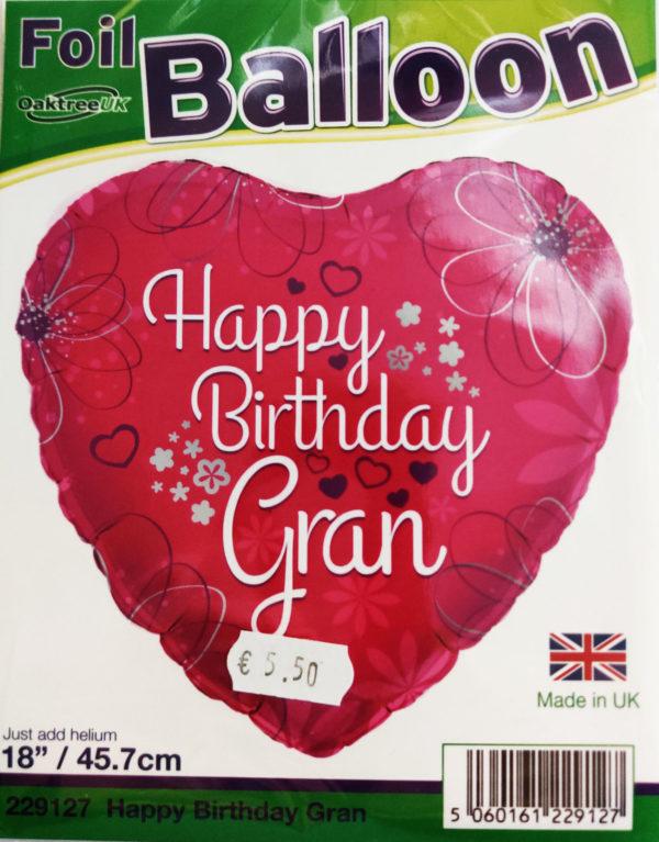 Happy Birthday Gran 18inch Foil Balloon Heart Shaped Pink 229127