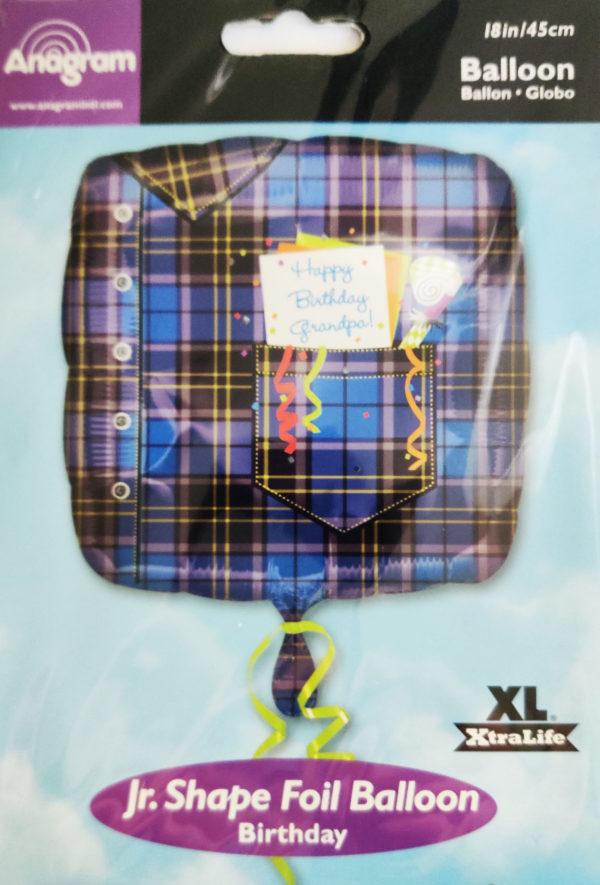 Happy Birthday Grandpa 18inch Foil Balloon Square Shaped Navy Check Shirt Design 17886