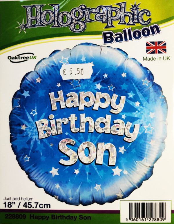 Happy Birthday Son 18inch Foil Balloon Holographic Blue 228809