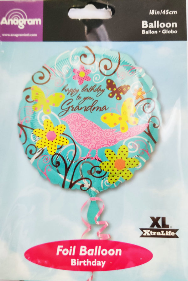 Happy Birthday to You Grandma18inch Foil Balloon Bird, Flowers & Butterflies 17938