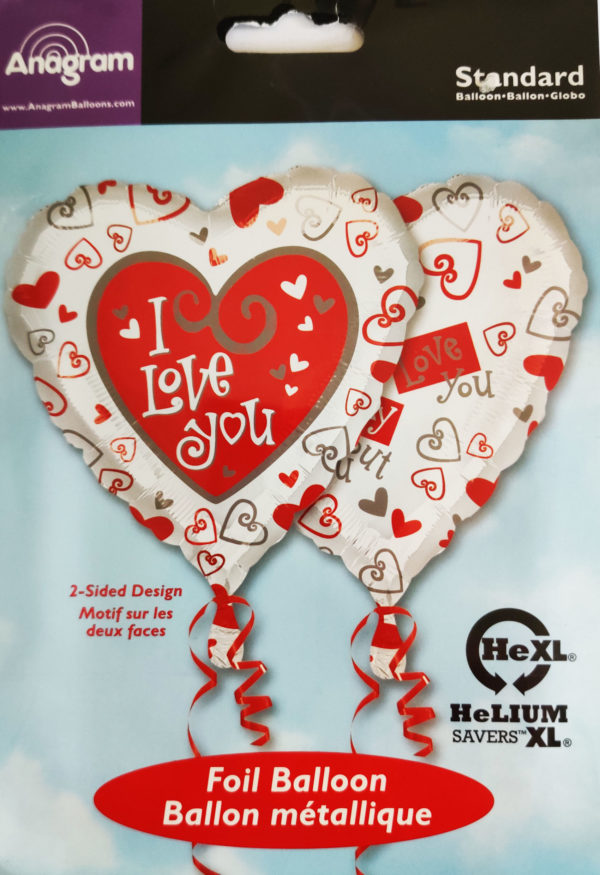 I Love You 17inch Foil Balloon with two sided design 08135