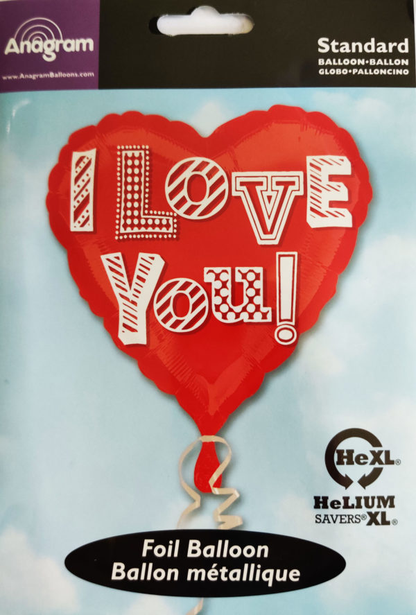 I Love You 17inch Red Heart Shaped Foil Balloon 25567