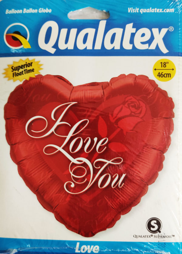 I Love You 18inch Red Foil Heart Shaped Balloon with a red Rose 24489