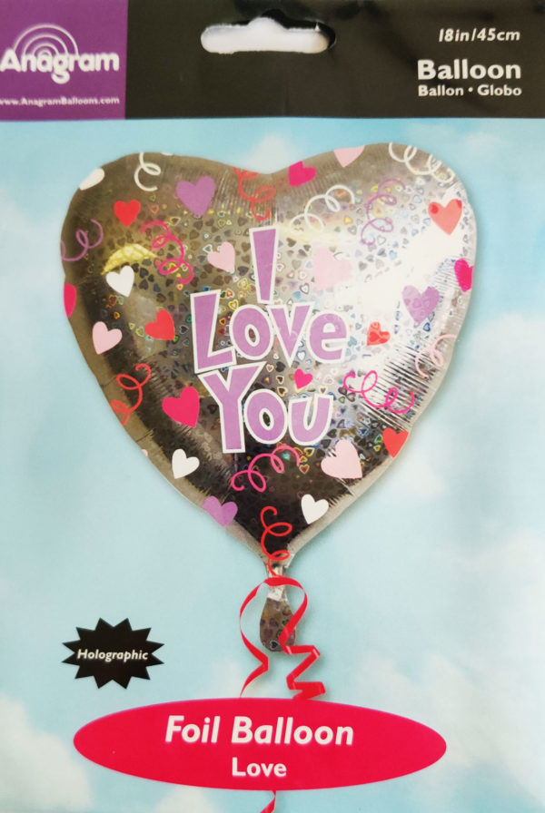 I Love You Heart Shaped 18inch Foil Balloon Silver with heart design 13506