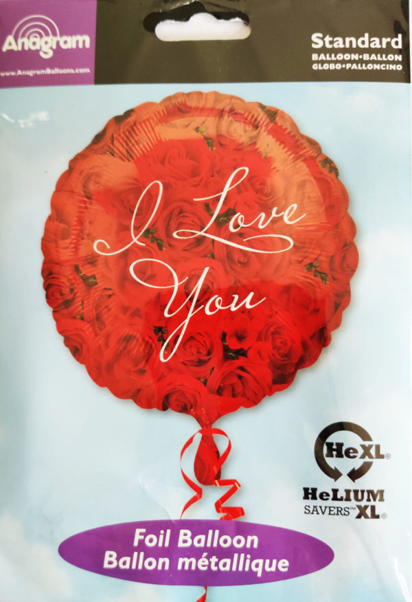 I love you 17inch Foil Balloon with red rose design 15598