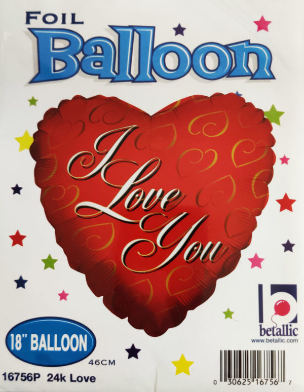 I love you 18inch Foil Balloon with gold hearts design 16756P