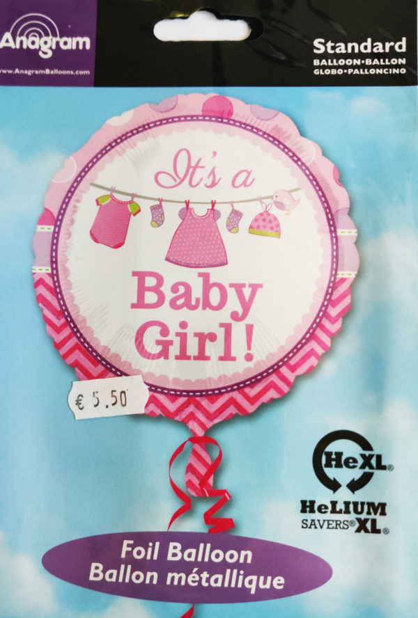 It's A Baby Girl 17inch Foil Balloon with clothes line 30909