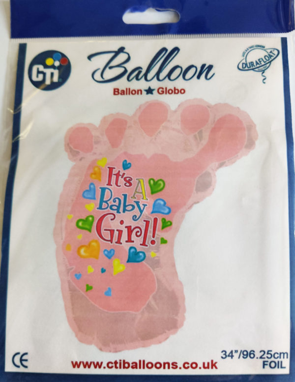 It's A Baby Girl 34inch Foil Balloon Pink Foot 434204