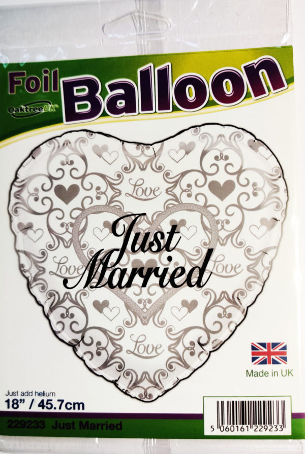 Just Married 18inch Foil Balloon Silver Heart Shaped 229233